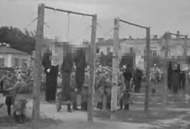 Казнь осужденных советских коллаборационистов (в том числе членов зондеркоманды СС «10-а») на Краснодарском процессе