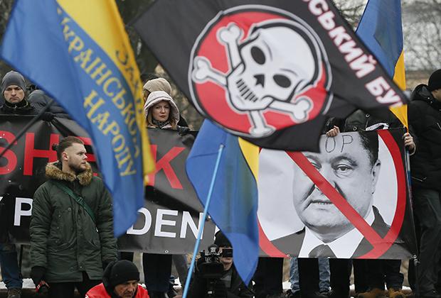 18 февраля 2018 года. Сторонники Саакашвили требуют импичмента Порошенко