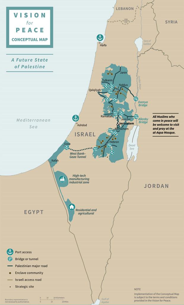 Предлагаемая палестинцам по «сделке века» территория