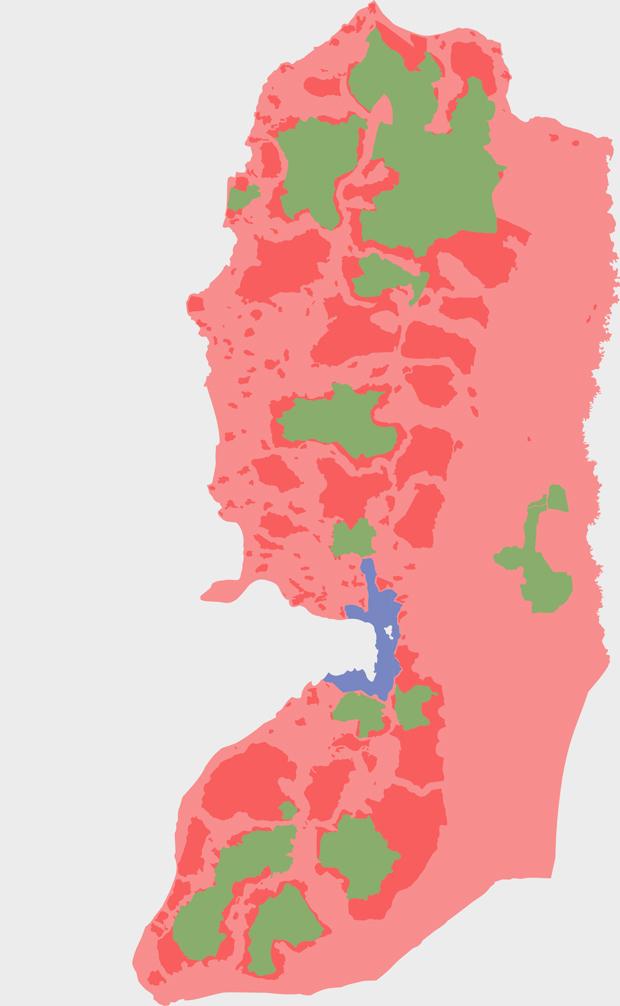 Статус территорий Западного берега реки Иордан после мирных соглашений 1993 года: розовый цвет — под израильским контролем, красный цвет — под израильско-палестинским контролем, зеленый — под палестинским, синий — аннексированные Израилем земли
