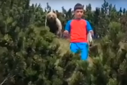 12-летний мальчик спокойно ушел от преследовавшего его медведя и попал на видео