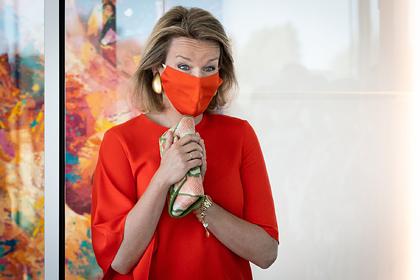 Королева Бельгии появилась на публике в маске в тон наряда и была обругана