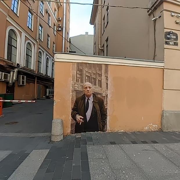 Граффити коллектива «URBAN-фреска» с портретом поэта Иосифа Бродского