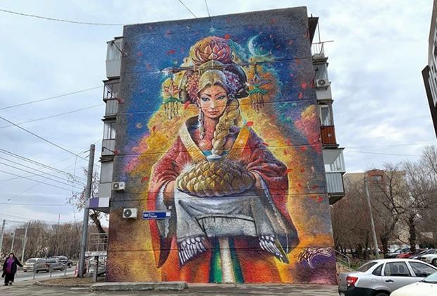Граффити в Челябинске. Работу закрасили, как предполагают, из-за вмешательства рекламного агентства, претендовавшего на фасад здания