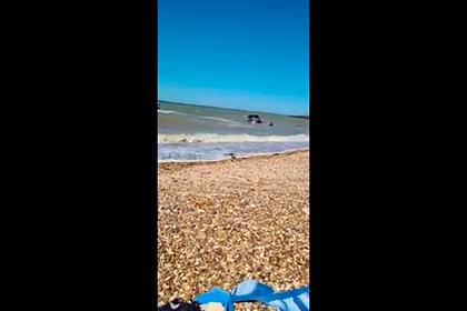 Мужчина отчаянно пытался спасти унесенную в море машину и попал на видео