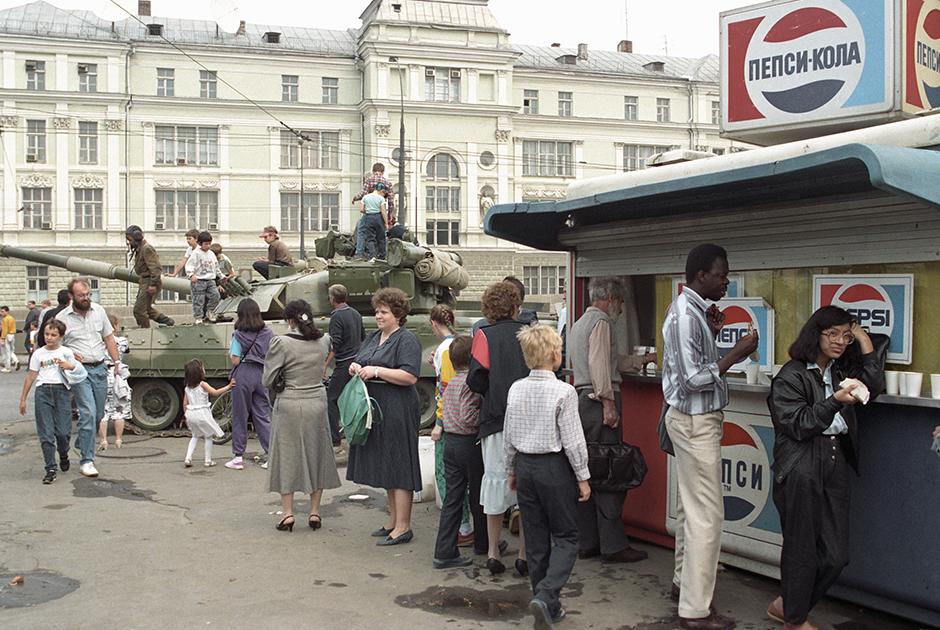 Танк в Москве, 1991 год