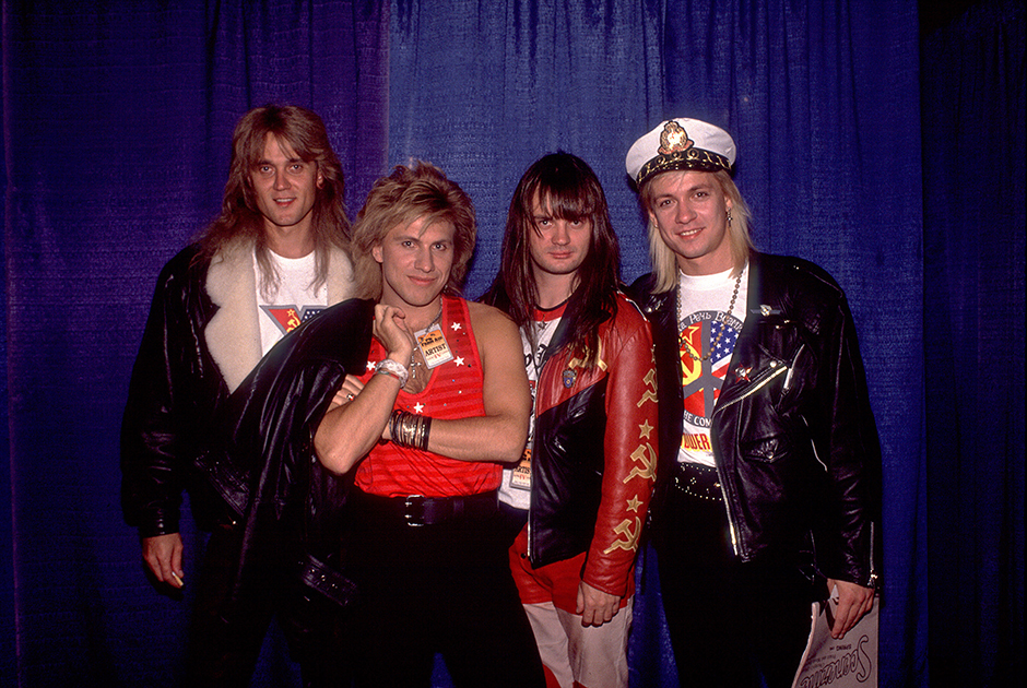 Portrait Of Gorky Park Portrait of Russian Rock group Gorky Park as they pose backstage at the Hoosier Dome during the Farm Aid benefit concert, Indianapolis, Indiana, April 7, 1990. Pictured are, from left, Alexander Minkov-Marshal, Yan Yanenkov, Alexander Lvov, and Alexey Belov. (Photo Paul Natkin/Getty Images)