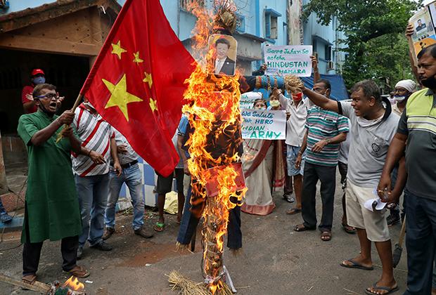 Антикитайская демонстрация в Индии, 18 июня 2020 года