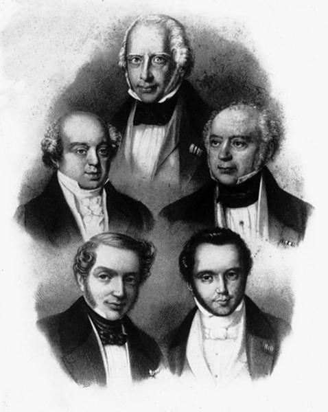 Амшель Майер Ротшильд и братья - Натан (вверху слева), Соломон (вверху справа), Джеймс (внизу слева), Карл (внизу справа)