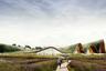 """Железнодорожный вокзал в китайском Сиане <a href=""""http://www.mannigroup.com/news-en/the-wave-the-ring-shape-and-the-roof-garden-mograph-studio-is-the-winner-of-the-xian-train-station-contest/"""" target=""""_blank"""">хотели</a> сделать символом объединения Востока и Запада — город находится в конце Великого шелкового пути. Для этого архитекторы из Mograph Studio использовали форму кольца, поднимающегося из земли. Также оно отражает открытость миру, прошлому и будущему. Вокзал <a href=""""https://www.youngarchitectscompetitions.com/competition/xi-an-train-station"""" target=""""_blank"""">намерены открыть</a> к 2030 году в рамках программы расширения города.<br><br>Здание проектировали из сейсмоустойчивых материалов. Волнистая крыша с озеленением — отсылка к местному горному рельефу. Каждый пассажир, подъезжая к терминалу, попадет в большой лес, так что первым, что он увидит, будут деревья, растения и пруды — «зеленое бьющееся сердце»."""