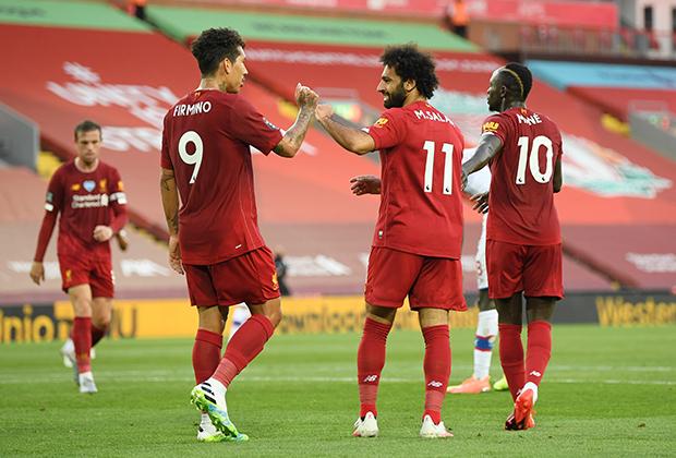 Игроки «Ливерпуля» в матче с «Кристал Пэлас»