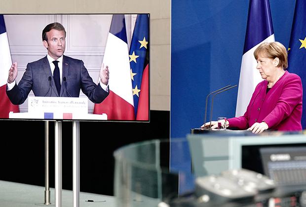 Совместная видеоконференция Ангелы Меркель и Эммануэля Макрона