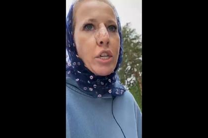 Собчак опубликовала видео после нападения в монастыре