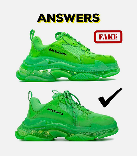 Сравнение реплики и оригинала кроссовок Balenciaga Triple S