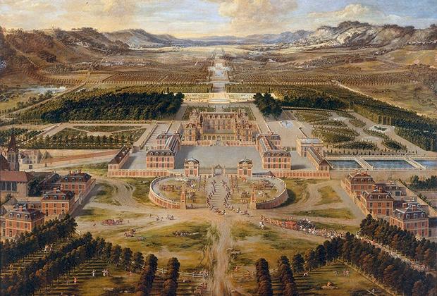 Вид с высоты птичьего полета на дворец и сады Версаля в XVII веке