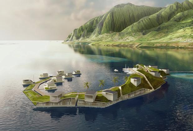 Проект плавучего острова в водах Французской Полинезии, который так и не был реализован из-за политической борьбы в стране.