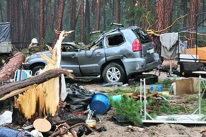 В российском городе ураган разрушил палаточный городок и повалил деревья