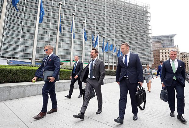 Генеральный директор «Нафтогаза» Андрей Коболев в составе украинской делегации после газовых переговоров между ЕС, Россией и Украиной в сентябре 2019-го