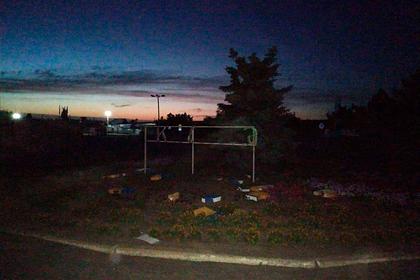В Донбассе разрушили знак «Украина»