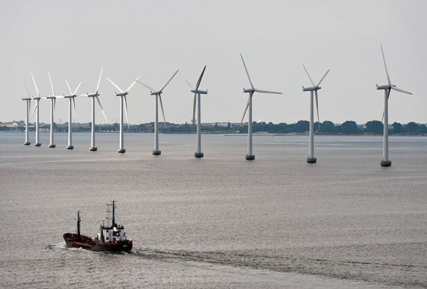 Ветрогенераторы в окрестностях столицы Дании Копенгагена