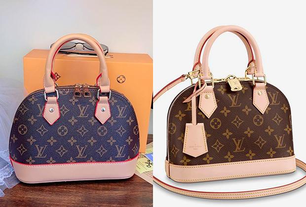 Фото китайской реплики и оригинала сумки Louis Vuitton