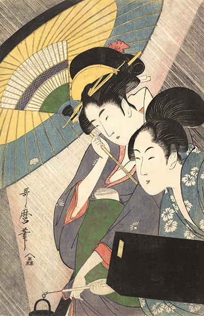 «Две женщины под зонтиком», гравюра Китагавы Утамаро, 1790-е годы