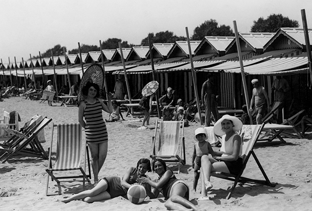 Пляж на венецианском острове Лидо, 1920-1930-е годы