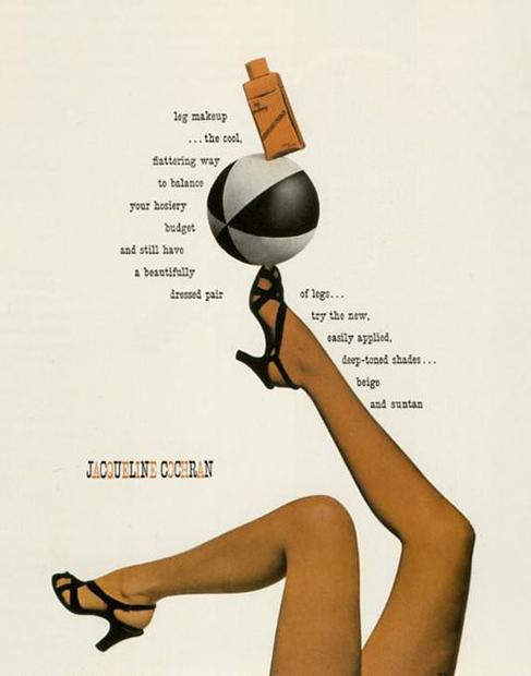 Реклама косметики для окрашивания кожи ног, 1944 год