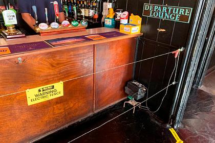 Посетителей бара заставили соблюдать дистанцию с помощью проволоки под током
