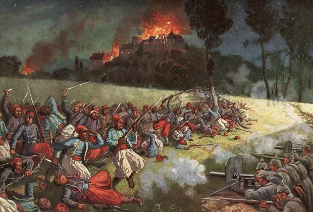 Атака французской колониальной пехоты на германские позиции, 1915 год