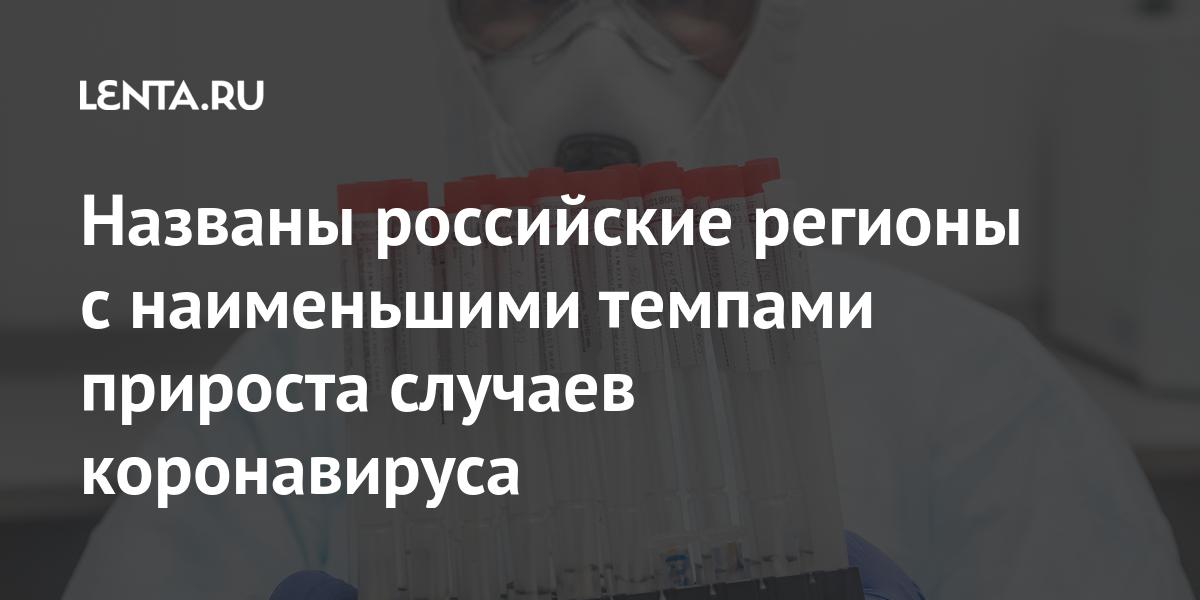 Названы российские регионы с наименьшими темпами прироста случаев коронавируса