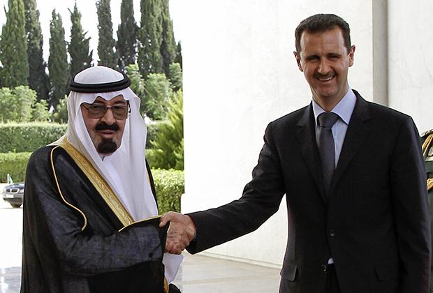 Бывший король Саудовской Аравии Абдалла ибн Абдул-Азиз Аль Сауд и сирийский президент Башар аль-Ассад