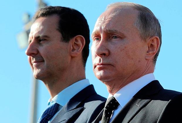 Президенты Сирии и России Башар Асад и Владимир Путин