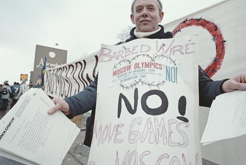 Участник протеста против проведения Олимпиады в Москве, Лэйк-Плэсид, февраль 1980