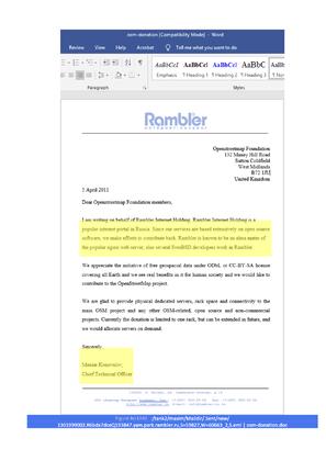 Максим Коновалов презентует Nginx в письме к инвесторам и называет Rambler альма-матер проекта (Telegram-канал Nginx Papers)