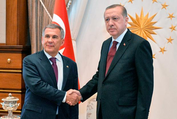 Президент Татарстана Рустам Минниханов и Реджеп Тайип Эрдоган