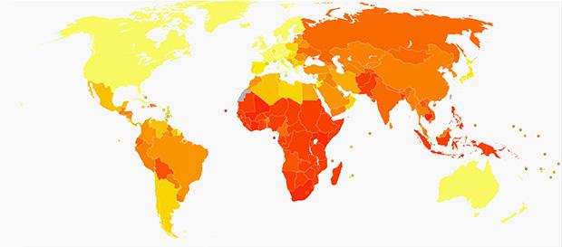 Карта распространения туберкулеза
