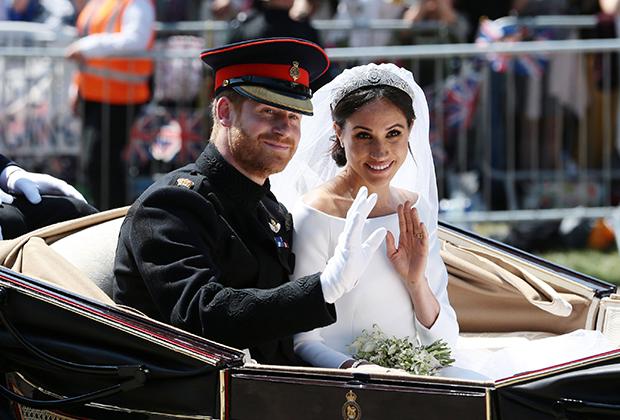 Гарри и Меган в день свадьбы, 2018 год