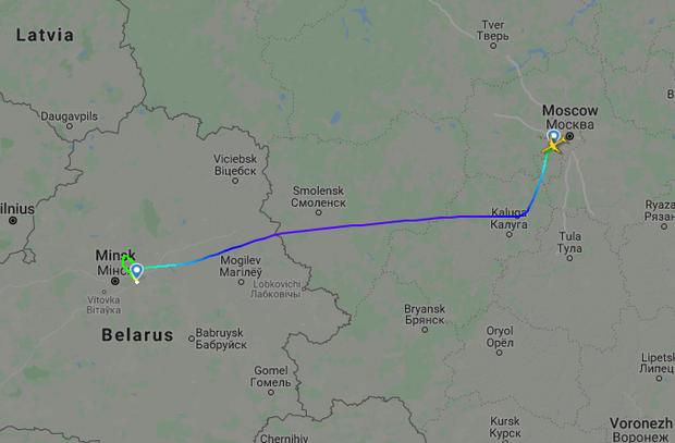 Карта полета Ту-214ВПУ из Москвы в Минск 18 августа 2020 года