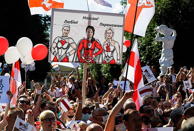 День выборов 9 августа. На плакате — лидеры оппозиции