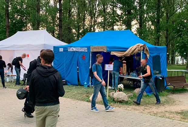 Волонтерский лагерь. Палатка врачей