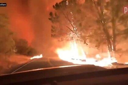 Водитель снял на видео проезд по охваченной пожаром дороге в Калифорнии