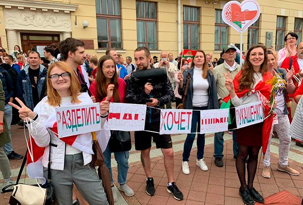 Акция противников Лукашенко в формате «свободного микрофона» 17 августа