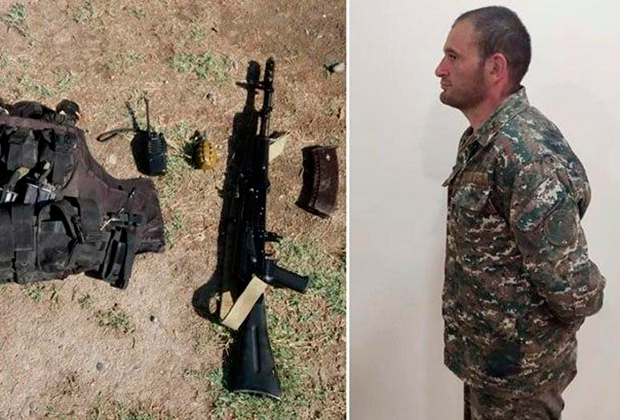 Минобороны Азербайджана показало снаряжение плененного армянского командира, старшего лейтенанта Гургена Алавердяна
