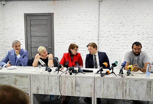 Президиум Координационного совета оппозиции Белоруссии на первой пресс-конференции