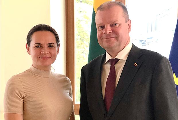 Светлана Тихановская с премьером Литвы Саулюсом Сквернялисом
