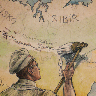 Плакат Франтишека Паролека «Белое!»: чехословацкие легионеры «отбеливают» взятую под контроль Транссибирскую магистраль. 1918 год