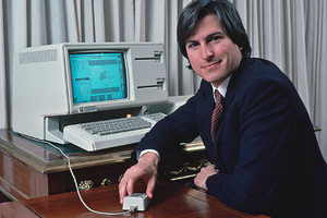 UNITED STATES - CIRCA 1983:  Apple computer Chrmn. Steve Jobs w. new LISA computer during press preview.  (Photo by Ted Thai/The LIFE Picture Collection via Getty Images)