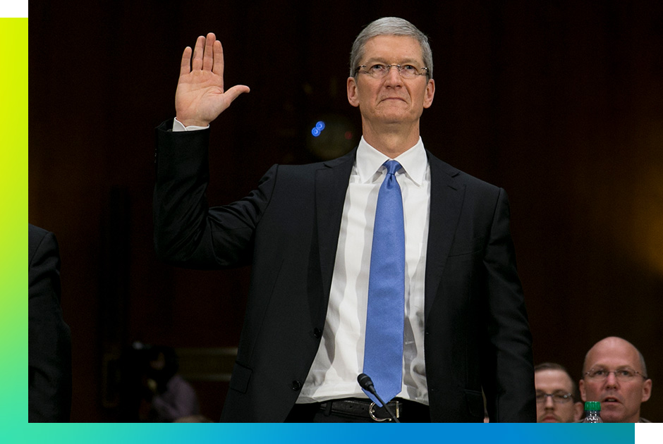 Tim Cook, chief executive officer of Apple Inc., swears in to a Senate Permanent Subcommittee on Investigations hearing in Washington, D.C., U.S., on Tuesday, May 21, 2013. Cook will face off against U.S. senators leveling accusations the iPhone maker has created a web of offshore entities to avoid paying billions of dollars in U.S. taxes. Photographer:
