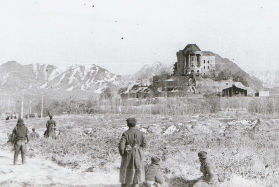 Дворец Амина со стороны правого крыла после штурма. Афганистан, 27 декабря 1979 года